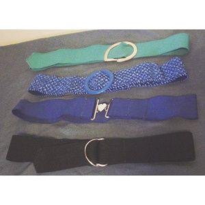 VTG Lot of 4 Elastic Stretch Fashion Belts Blue EC